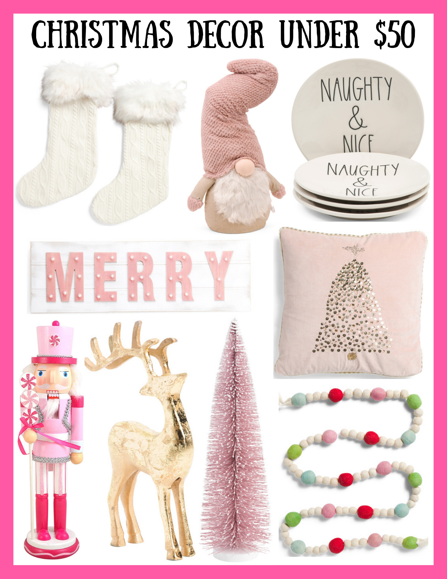 Pink Christmas Decor Under $50